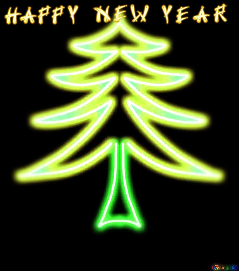 childrens drawing tree dark card text happy new year №40649