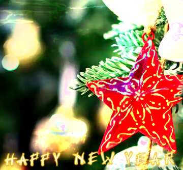 The effect of the dark. Very Vivid Colours. Fragment. Card with text Happy New Year.