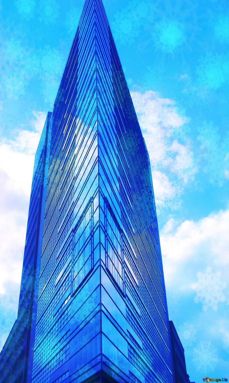 Modern architecture Snowflakes blue sky №12135