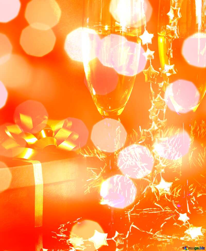 orange lens flare champagne a wrapped gift №2733