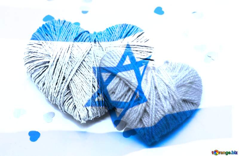 Hearts with Israel flag in the background №16409