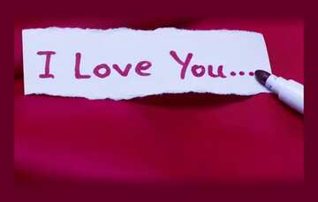 Inscription I love you on paper