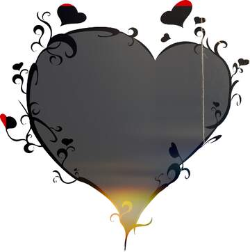 The effect of the mirror. The template image with a heart.