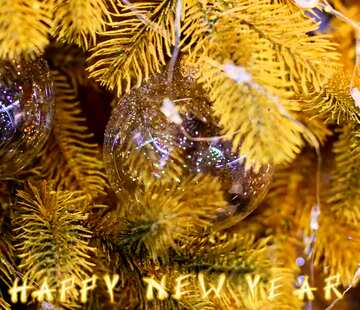 The effect of contrast. Very Vivid Colours. Fragment. Card with text Happy New Year.