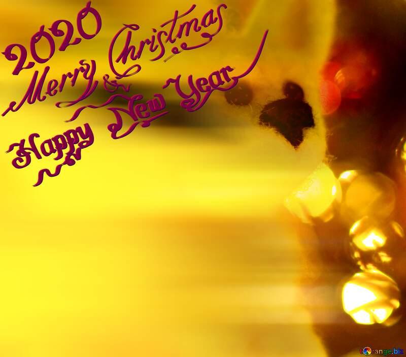 Happy new year 2020  bokeh Christmas greetings background. Symbol husky dog. №49641