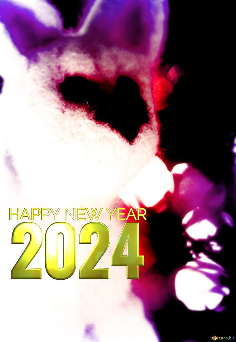 Happy new year 2020  white husky dog. Christmas greetings background. №49641