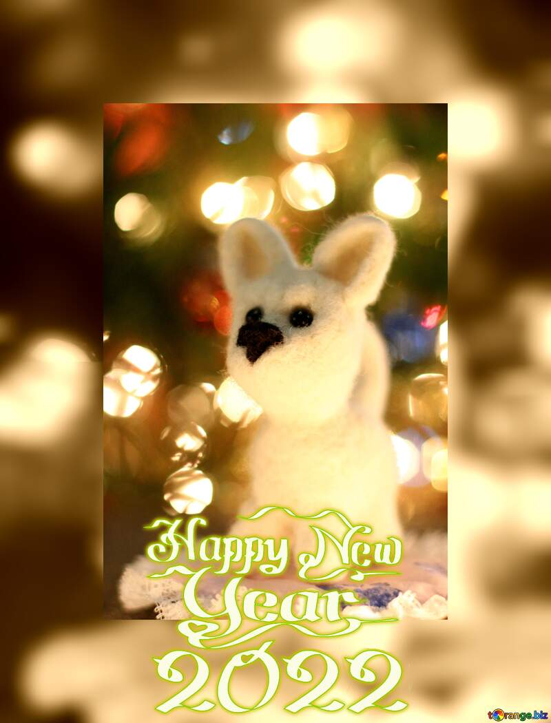 Happy new year 2021  greetings background. dog. №49641