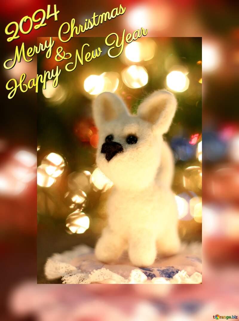 Happy new year 2021  Christmas dog. №49641