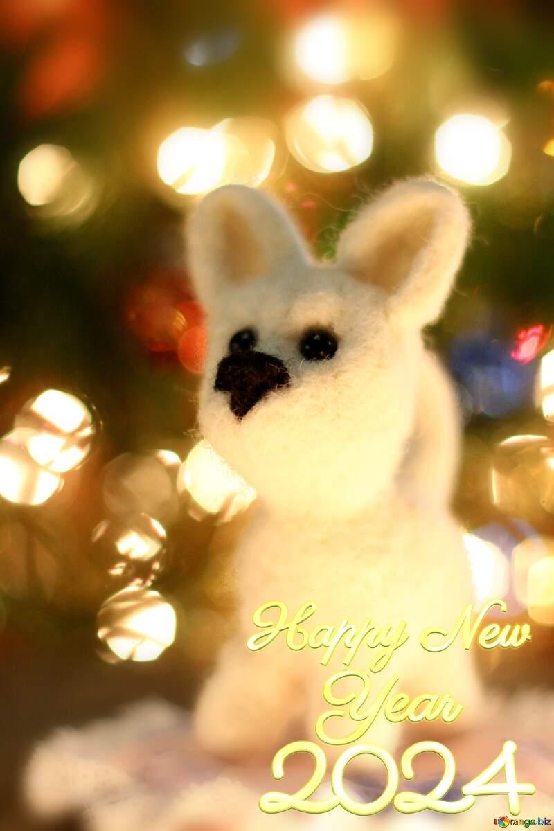 Happy new year 2021  husky dog. Copyspace greetings background. №49641