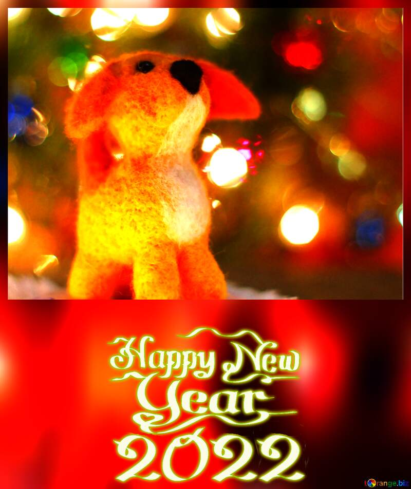 Happy new year 2021  puppy mongrel dog. Fancy greetings background. Copyspace congratulations. №49634