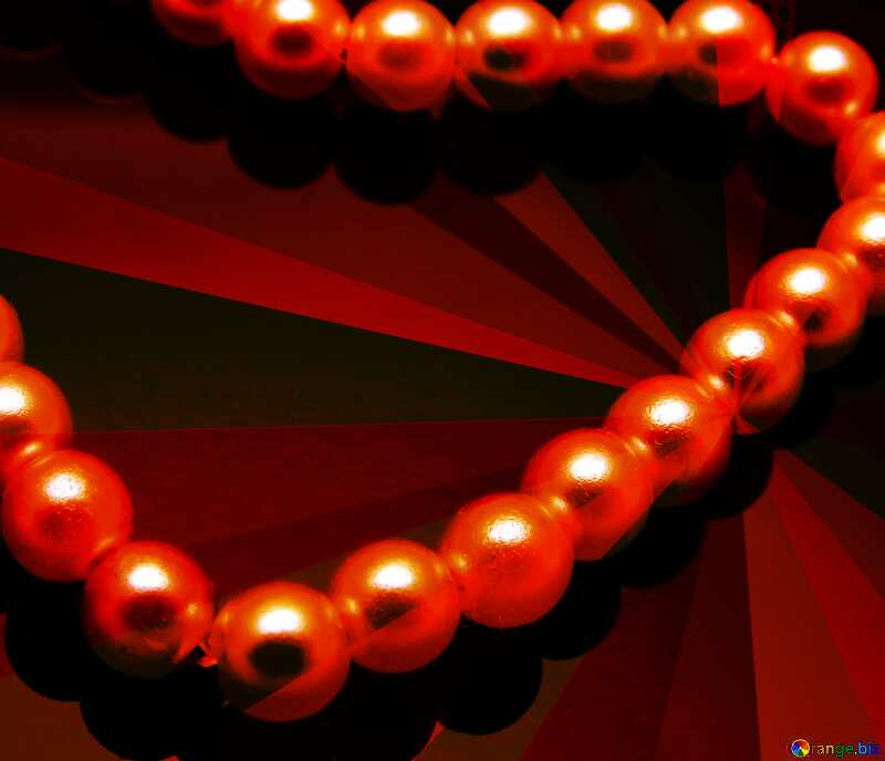 Heart of Pearls red  colors rays №18269