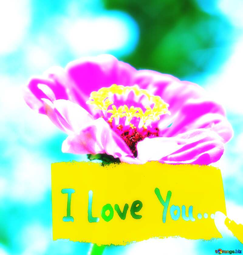 flower with I Love You Inscription soft poster №33439