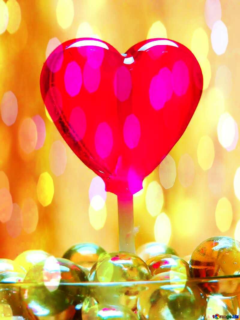 Candy heart bokeh background №17437