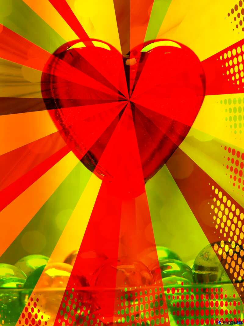 heart red yellow green rays №17437