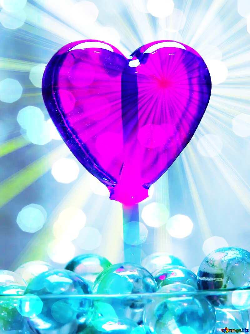 Candy shape heart Rays sunlight №17437