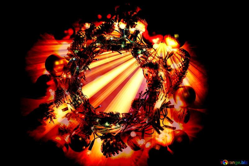 Christmas wreath Rays sunlight background №48048
