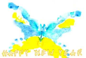 Die Wirkung von viel Licht. Sehr klare Farben. Card with text Happy New Year.