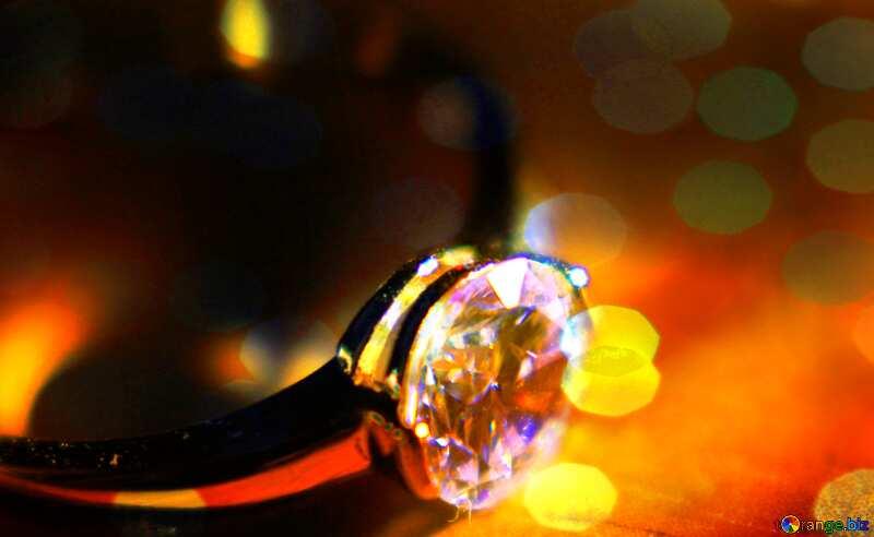 Gold diamond ring lights background №18587