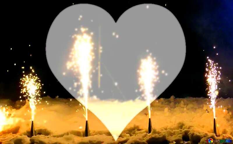 Ground fireworks love heart background №41341