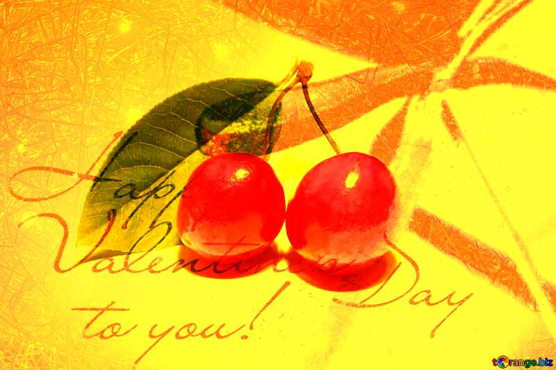 Cherry happy valentines Greeting Card №33192