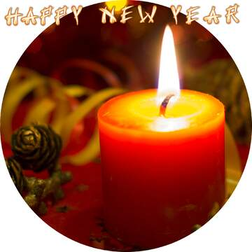 Frame circle. Card with text Happy New Year.