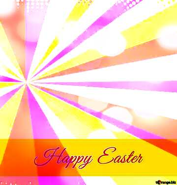 Card with Happy Easter write text on Colors rays background