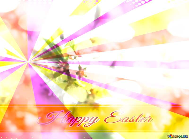 Spring blooming background Card with Happy Easter write text on Colors rays background №39771