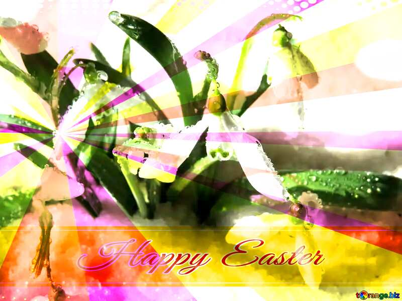 Early spring wallpaper Card with Happy Easter write text on Colors rays background №38378