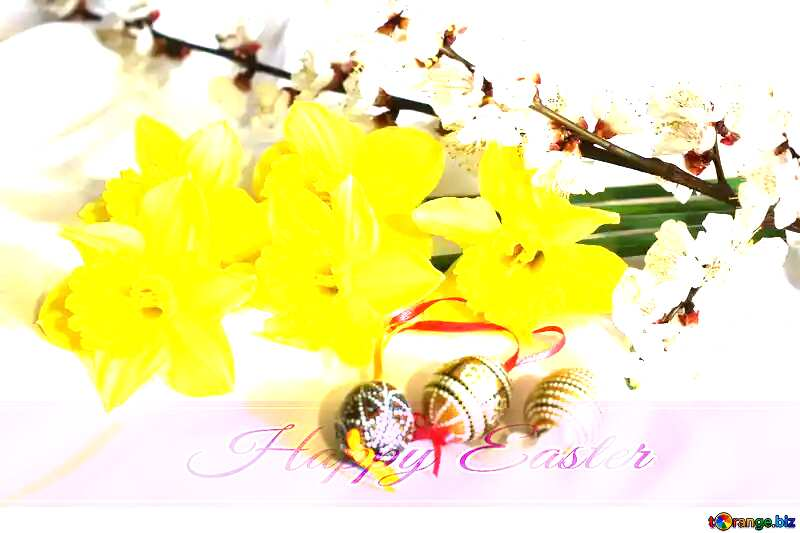 Easter background with flowers Happy Easter on pink ribbon №29977