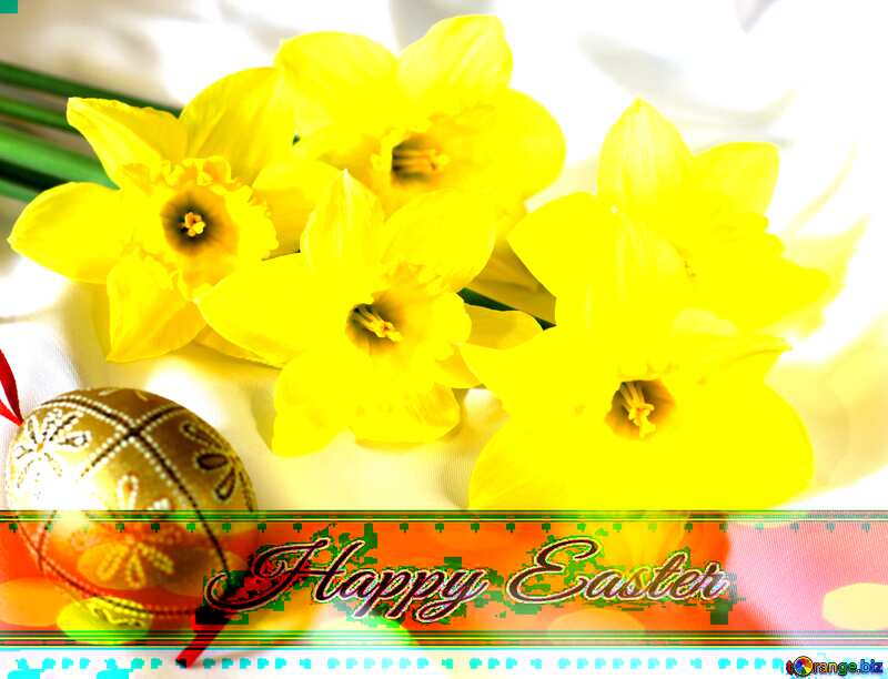 Easter bouquet of daffodils Inscription Happy Easter on bokeh ribbon №29985