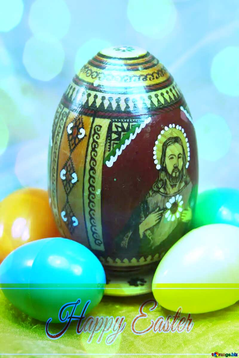 Easter egg with icon Happy Easter card write text background №4319