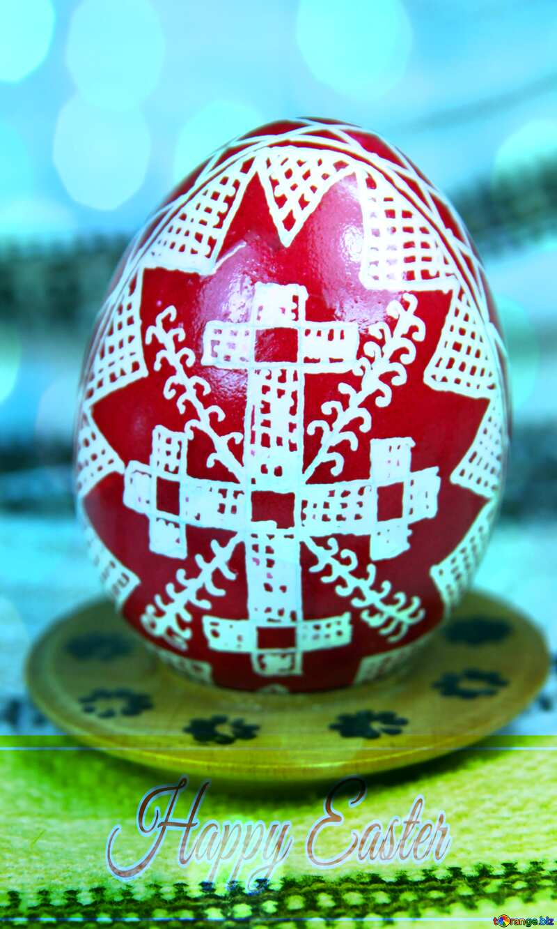 Easter egg. The symbol of the cross, roofs. The sign of divine power. Happy Easter card write text background №4370
