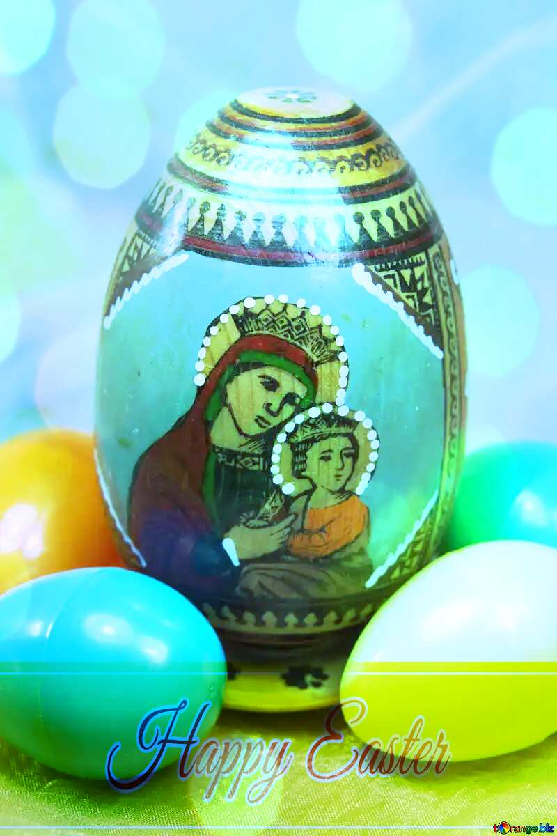 Face of the Virgin and Child on an Easter egg Happy Easter card write text background №4315