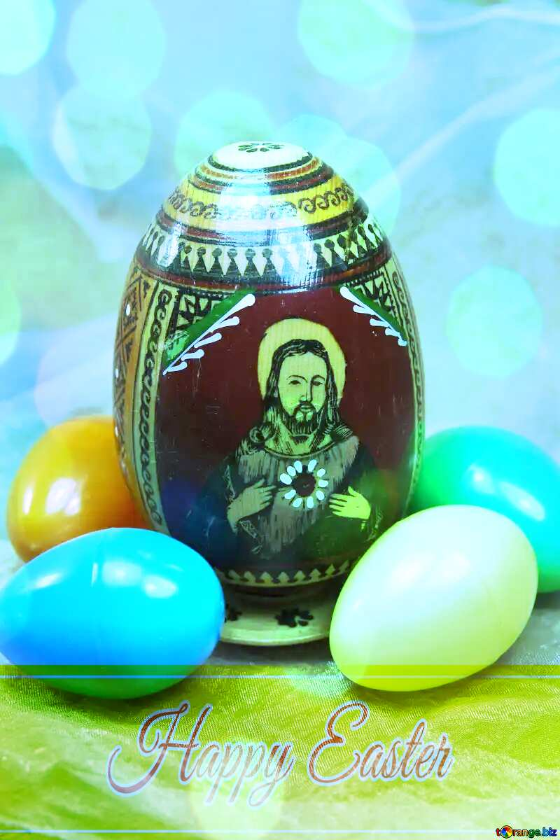 Jesus Christ em Easter ovo Happy Easter card write text background №4338