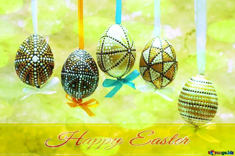 Painted Easter eggs Happy Easter card write text background №29792