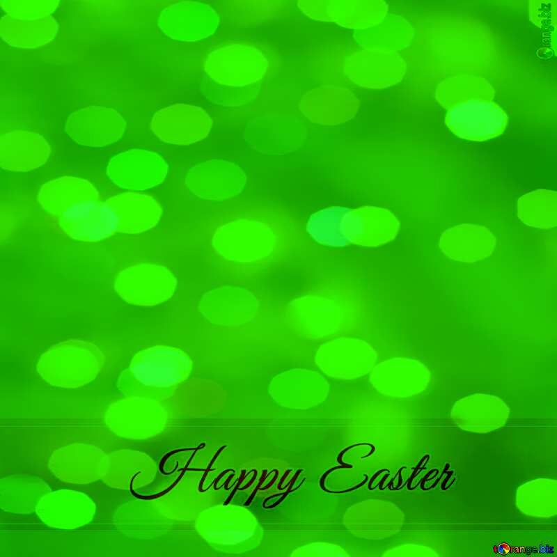 Inscription Happy Easter overlay green bokeh background     №49668