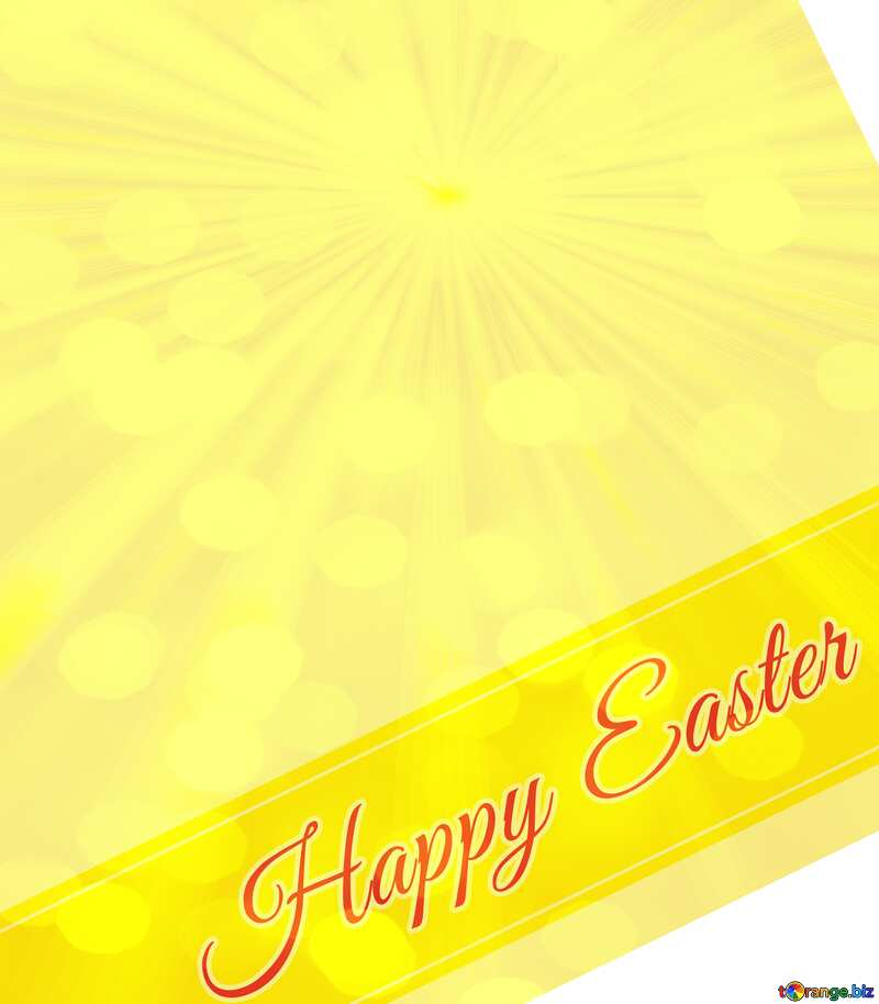 Inscription Happy Easter and Sun-rays on bokeh background №49668