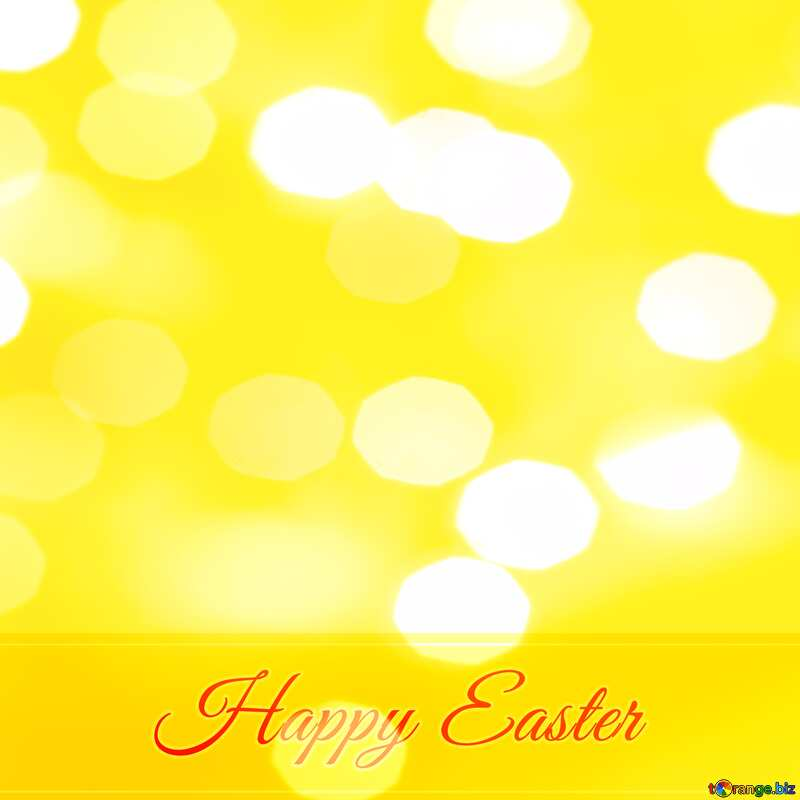 Inscription Happy Easter Yellow Bokeh background     №49668