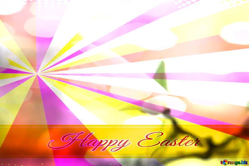Spring beauty Card with Happy Easter write text on Colors rays background №39736
