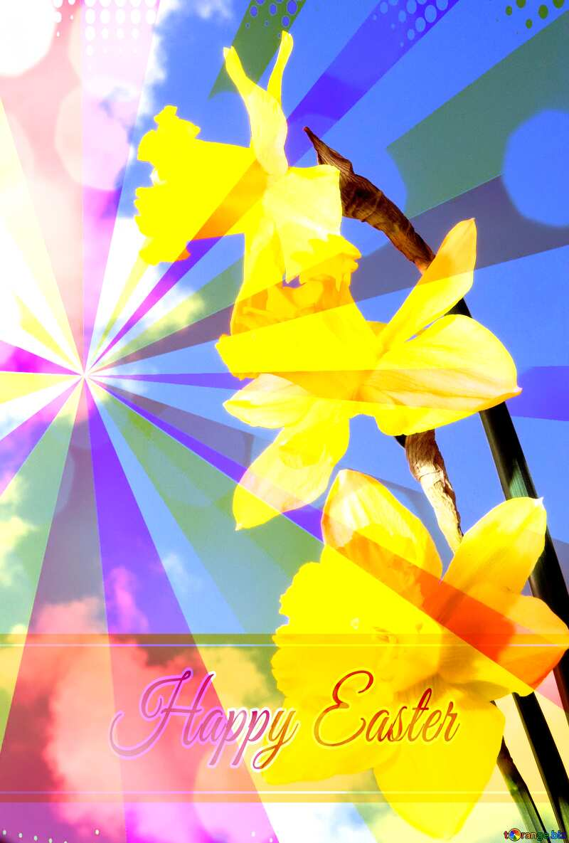 Spring bouquet Card with Happy Easter write text on Colors rays background №30957