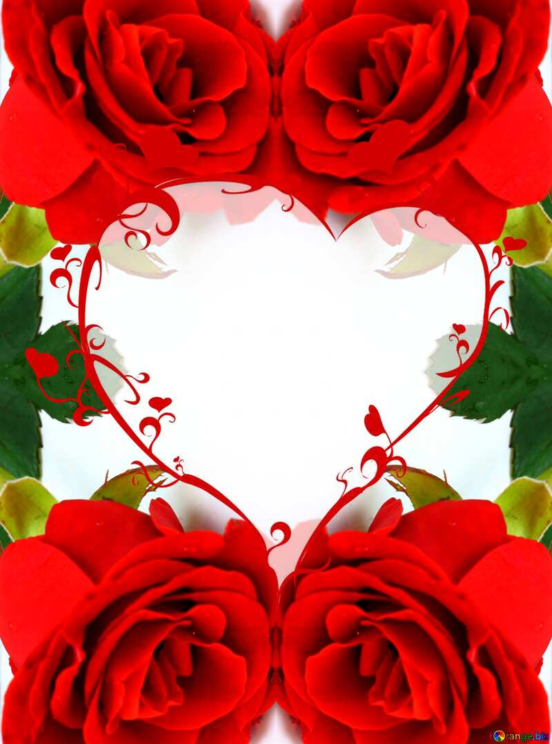 Rose frame with heart №16884