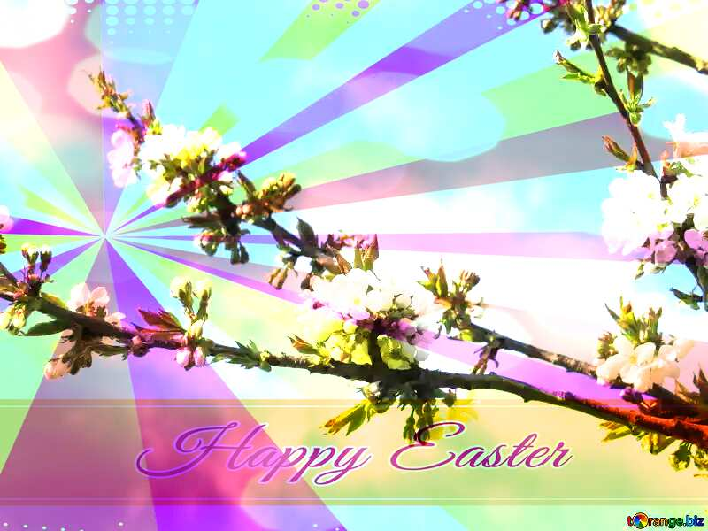 The arrival of spring Card with Happy Easter write text on Colors rays background №24414