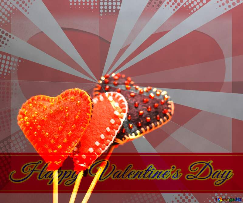 Hearts made of felt on a dark background in isolation Greeting card retro style background Lettering Happy Valentine`s Day №49197