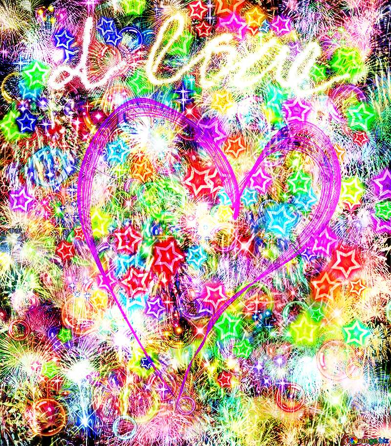 Background love heart Fireworks texture overlay bokeh background №40003