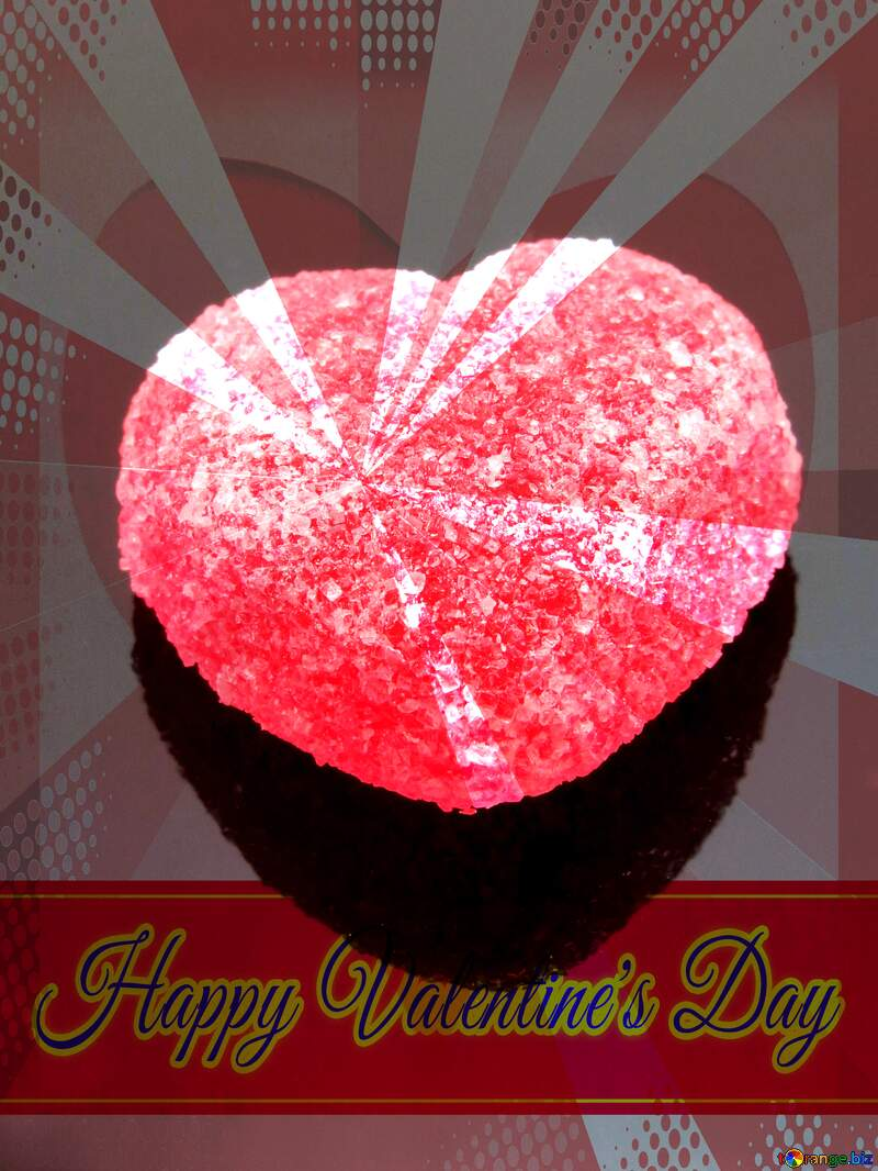 Red heart on black background Greeting card retro style background Lettering Happy Valentine`s Day №18523