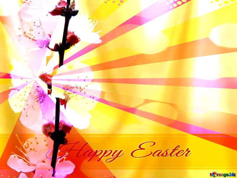 Spring golden background Card with Happy Easter write text on Colors rays background №29937