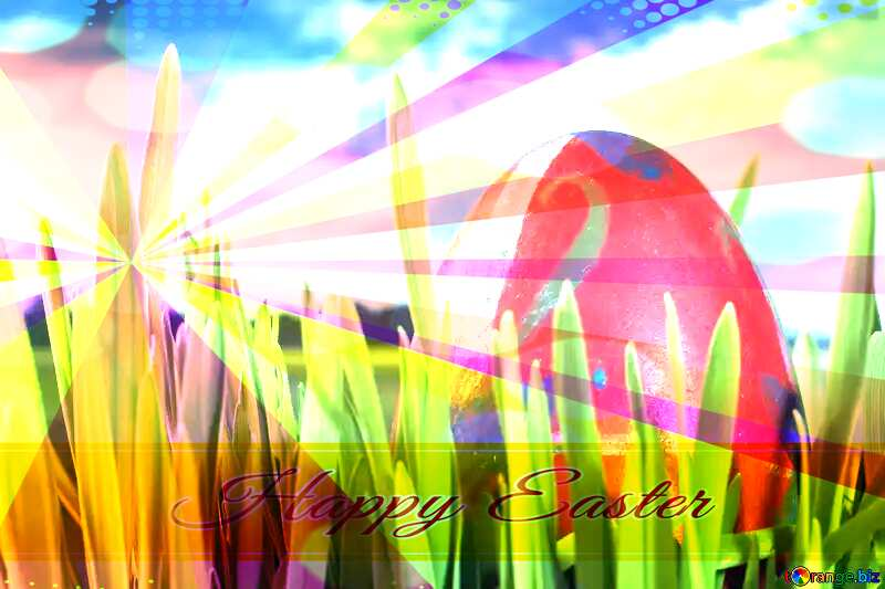 Easter  Egg  Spring   grass Card with Happy Easter write text on Colors rays background №8161
