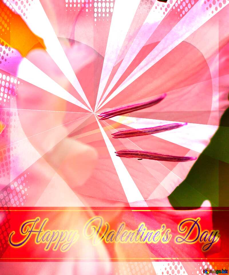 Flower macro Greeting card retro style background Lettering Happy Valentine`s Day №33752