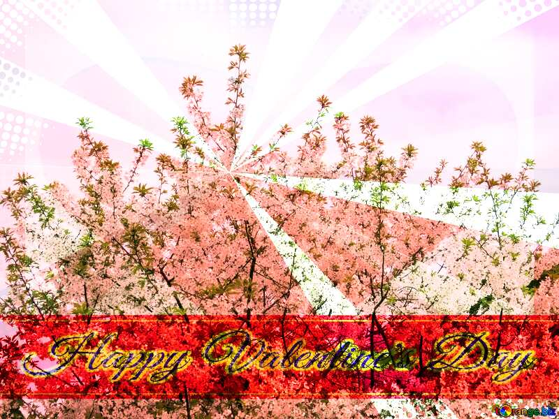 Flowering tree Greeting card retro style background Lettering Happy Valentine`s Day №31190