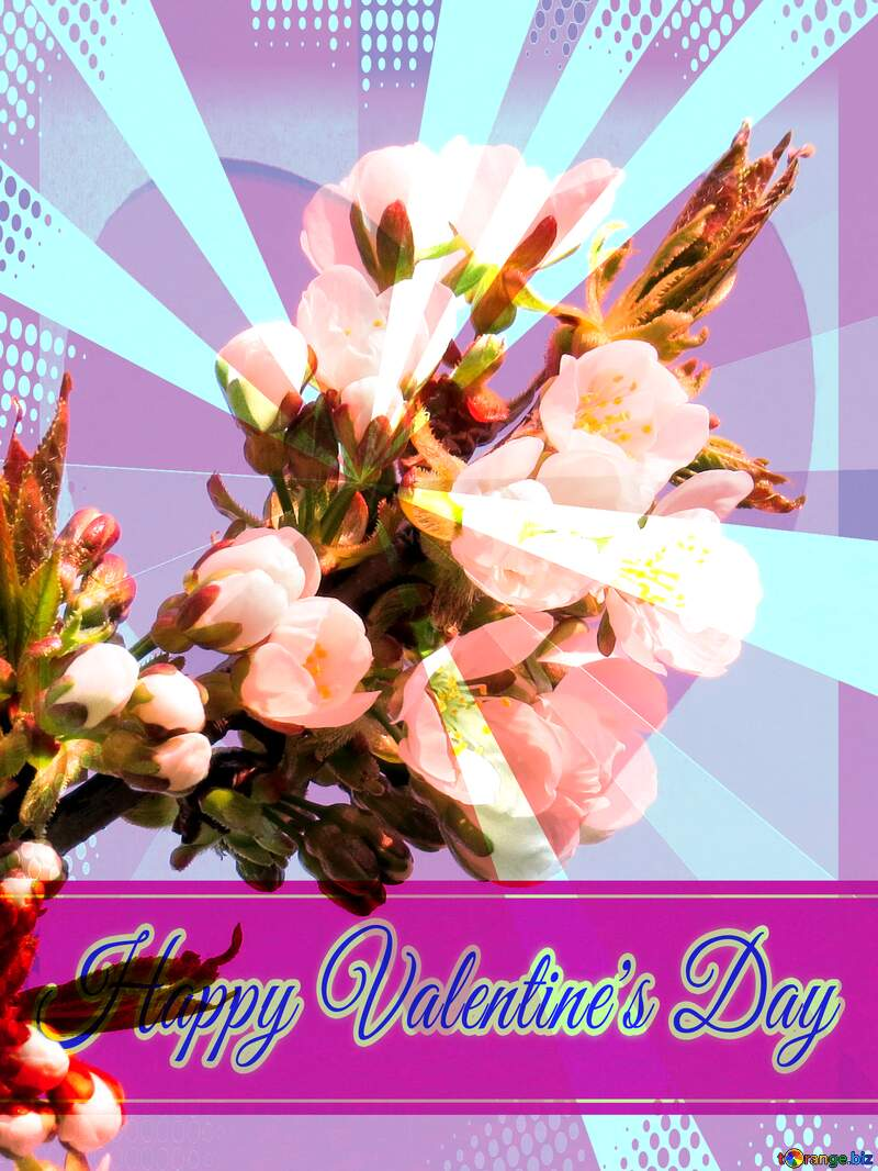 Flowers Trees Greeting card retro style background Lettering Happy Valentine`s Day №24405